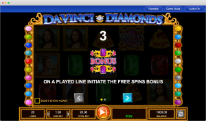 Da Vinci Diamonds bonus feature